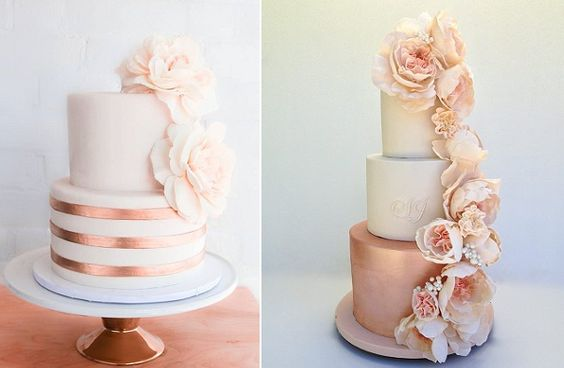 Copper and blush wedding cake by Erica O Brien left, rose gold wedding cake right by Cakesalouisa